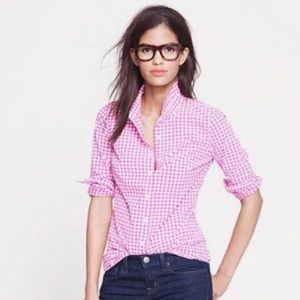 J. Crew Purple Gingham Button Down 'Boy' Shirt 8
